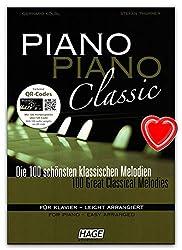 Piano Piano Classic-100plus belles Mélodies pour Piano-Léger ARRANGIERT classique de Gerhard kölbl et Stefan Thurner-Note livre avec 2CD et coloré Cœur Note Pince