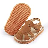 myppgg Baby Boy Girl Summer Infant Squeaky Sandals Premium Rubber Sole Closed-Toe Non-Slip Shoes Toddler First Walkers Brown, 3.5 Toddler