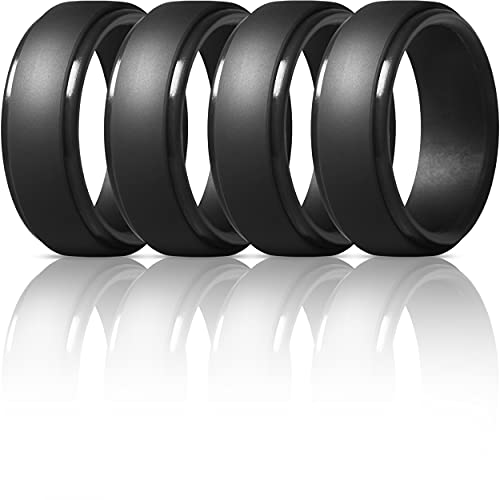 ThunderFit Silicone Rings for Men - 4 Rings Step Edge Rubber Wedding Bands 10mm Wide - 2.5mm Thick (4 Black Rings, 10.5-11 (20.6mm))