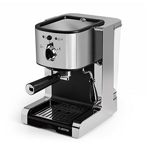 KLARSTEIN Passionata 20 - Máquina de café espresso, Cappuccino, Capacidad para 6 tazas, Depósito extraíble, Boquilla de vapor, Espumadora de leche