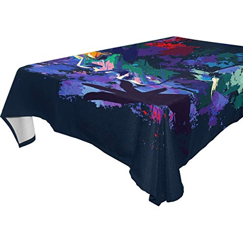 LUCKYEAH African Women Oil Painting Table Cloth Washable Square Table Cover Polyester Tablecloths Rectangular for Indoor Patio Kitchen Picnic Outdoor, 54x54inch