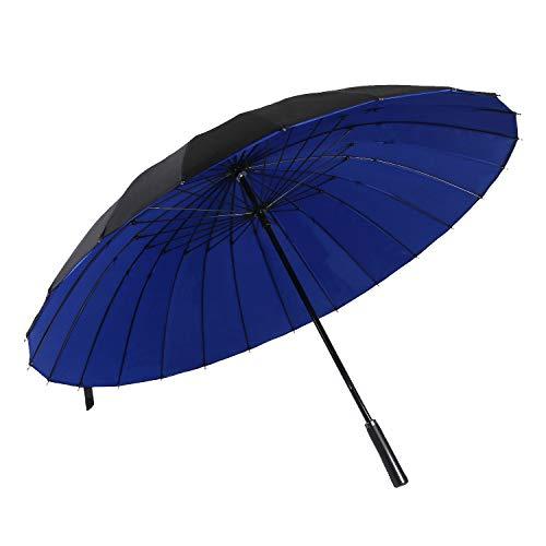 ThreeH Stockschirm Groß Golfschirm Wasserabweisend Sturmfester Doppelter Baldachin Regenschirm KS12,Blue
