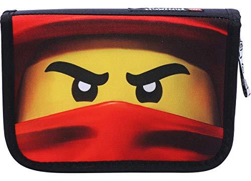 LEGO Bags Federmäppchen NINJAGO Kai, Federmappe 20 teilig gefüllt, Federtasche mit Lego Motiv, Stiftebox schwarz, Schüleretui mit Inhalt, Schul Etui mit Namensfeld, Stundenplan, Lineal und Anspitzer