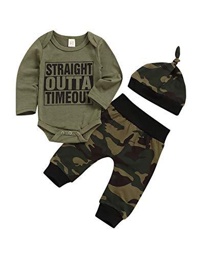 Baby-Kleidungsset für Jungen, Baseball-Druck, langärmeliger Body + Hose, Camouflage-Strampler Gr. 68, Army Grün