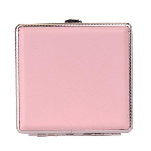 Panegy Modernes und Elegantes Damen Zigarettenetui aus Leder und Metall für 20 Zigaretten - Pink - 9.7 * 9.3 * 1.9cm