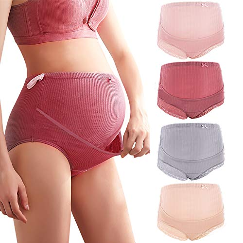 Awesling 4Pack Maternity Panties | High Waist Over Bump Pregnancy Underwear | Pregnant Women Belly Support Cotten Briefs (L)