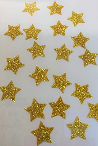 SAFIRMES 20 Sterne Hotfix Patch zum Aufbügeln, Glitter Gold 15 mm