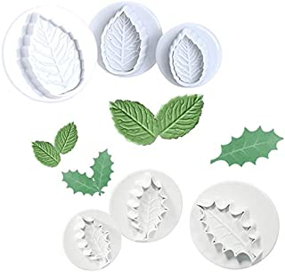 6-Piece Fondant Holly Leaf Rose Leaf Plunger Cake Cutter Sugarcraft Cake Decorating (Leaves)