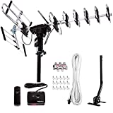 Five Star [Newest 2020] Outdoor Digital Amplified HDTV Antenna - up to 200 Mile Long Range,Directional 360 Degree Rotation,HD 4K 1080P FM Radio, Supports 5 TVs Plus Installation Kit and Mounting Pole