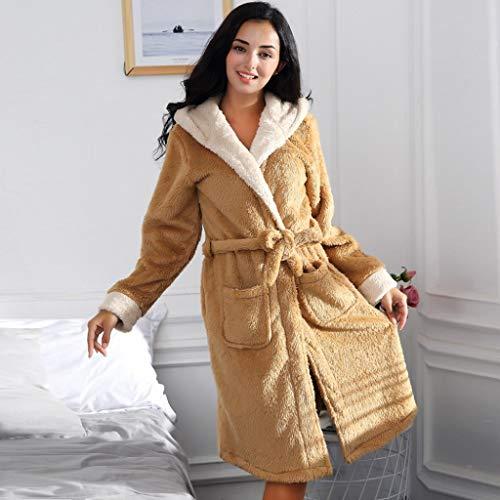 XJJZS Invierno Lindo cálido Albornoces Mujeres Dibujos Animados Conejo Rodilla Longitud de baño con Capucha Vestido Suave Dama de Honor túnicas Mujer (Color : B, Size : Medium)
