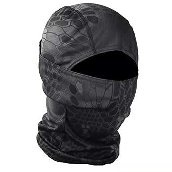 【MOECo.】 サバゲー フェイスマスク バラクラバ カモフラージュ ミリタリー (黒大蛇 (Python Black))