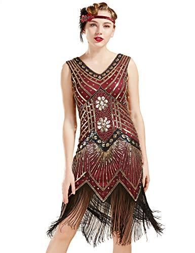 BABEYOND Damen Flapper Kleider voller Pailletten Retro 1920er Party Damen Kostüm Kleid Gold Weinrot, L