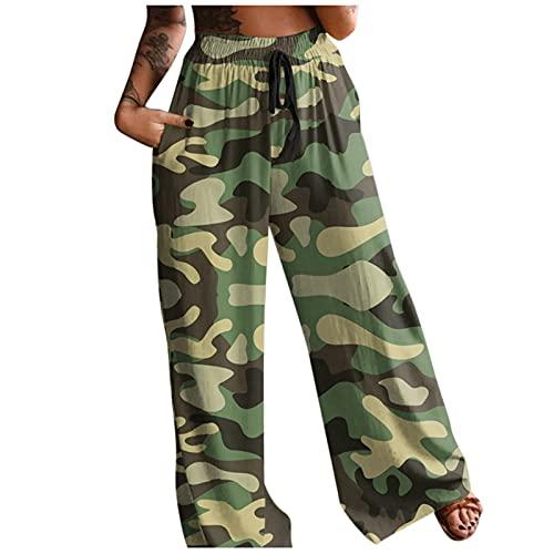URIBAKY - Pantalón estampado de cintura alta para mujer, estilo bohemio, verde, L