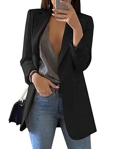Women's Long Sleeve Solid Color Turn-Down Collar Coat Ladies Business Suit Cardigan Jacket Suit Blazer Tops
