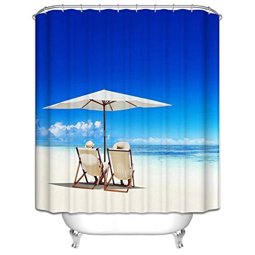 DOLOVE Wasserdichter Duschvorhang Polyester Sonnenschirm-Stuhl Am Meer Duschvorhang 165x200 cm Badewannenvorhang Bunt