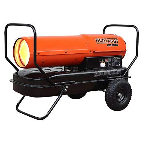 HeatFast HF215K Portable Home, Jobsite, Construction Site Forced Air Kerosene/Diesel Salamander Torpedo Space Heater with Thermostat Temperature Control, 215,000 BTU, orange