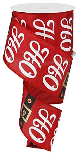 """Santa Claus Ho Ho Ho Christmas Ribbon: Red and White 2.5"""" X 10 Yards"""