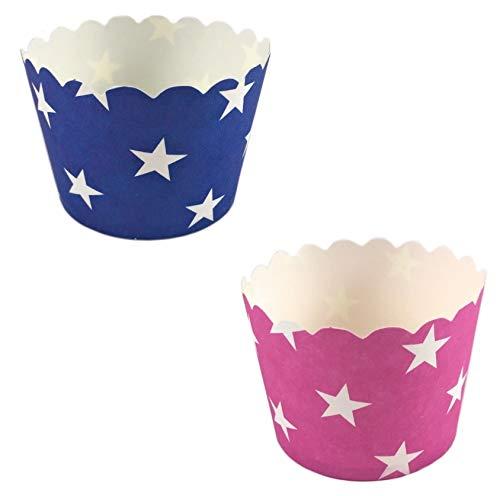 50 Pappförmchen Muffin, Cupcake, EIS, Dessert – 2 Designs a 25 Stück (2 x 25 Sterne)
