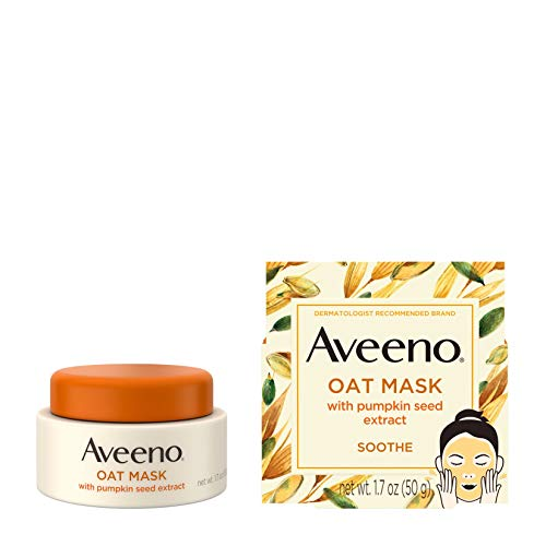 Aveeno Oat Face Mask with Soothing Pumpkin Seed Extract and Feverfew Extract, to Rebalance and Hydrate Skin, Paraben Free, Phthalate-Free, 1.7 oz