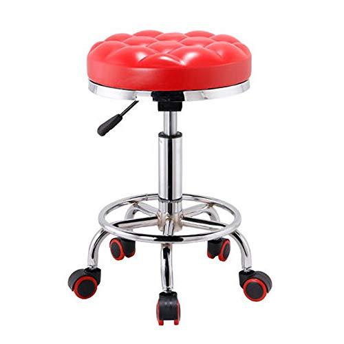 lijingaa Barhocker Stühle,Bürostuhl,Mit Fußstütze Computerstuhl,Runde Rollen Drehstuhl,Einstellbar Barhocker,Arbeitsstuhl-B 35x35x55cm(14x14x22inch)