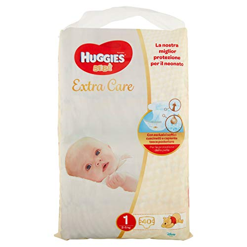 Huggies Huggies Extra Care - Pañales para bebé, talla 1 (2 – 5 kg), paquete de 40 unidades – 830