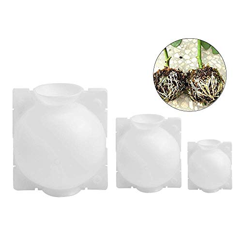 WEIFAN Pflanzenwurzelgerät Hochdruck-Ausbreitungsball, für Innenanlagen im Freien Asexuelle Fortpflanzung, Wiederverwendbare Pfropfpflanzenwurzelgerät (Weiß, 3 STÜCKE, S, M, L)
