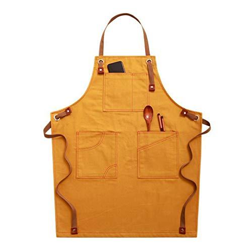 EWAT Delantal de chef, de lona de algodón con espalda cruzada ajustable con bolsillos para mujeres y hombres, delantal de cocina para hornear, delantal con tirantes ajustables y bolsillos grandes