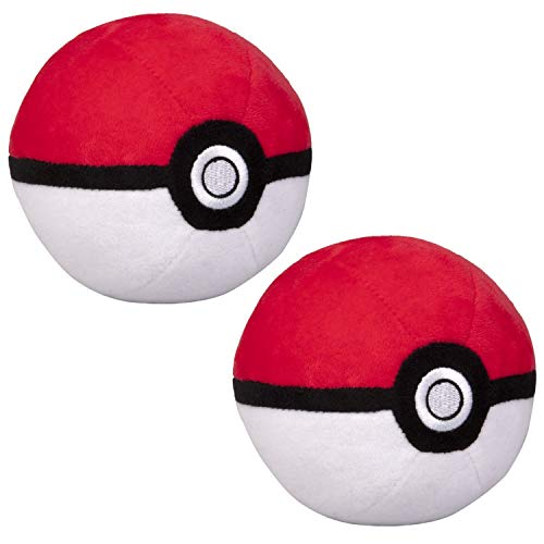 Pokémon 4' Pokéball Plush, 2 Pack - Soft Stuffed Pokéball with Weighted Bottom