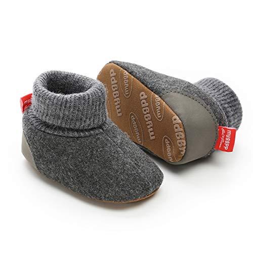 myppgg Baby Girls Boys Fleece Booties Newborn Cozy Warm Footwear Winter Cotton Socks Non-Slip Soft Sole Crib Shoes, A/Dark Gray, 12-18 Months Infant