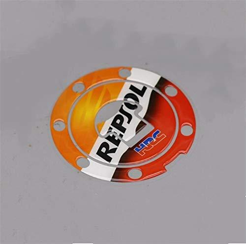 Motorrad-3D-Behälter-Auflage-Cap-Aufkleber for Honda CBR600RR CBR1000RR REPSOL HRC CBR FIREBLADE Motorrad-Behälter-Abdeckung Schutz Aufkleber Motorrad tankpad Aufkleber (Color : Tank Cap Sticker)