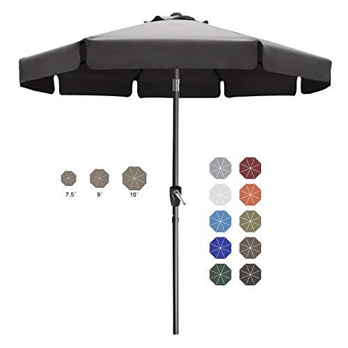 ABCCANOPY 230cm Sonnenschirm im Freien Wasserabweisende Bespannung -Gartenschirm Marktschirm,Dunkel grau