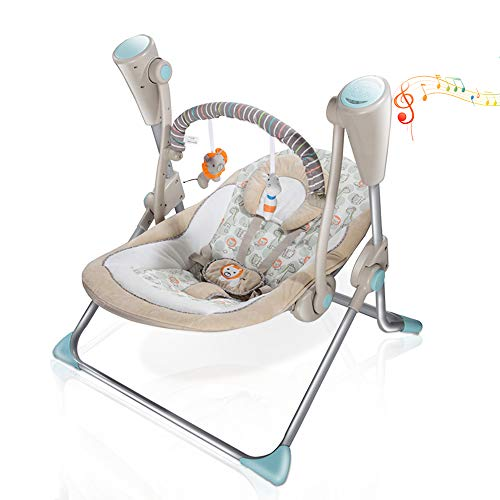 VASTFAFA Electric Baby Swing Infant Bouncer, Khaki Chair Rocker with Mosquito Net,Bluetooth 16 melodies Control and 6 Speed, New Gift for Newborns Babies