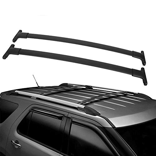 ASL 5815 2pcs for 2016-2019 Ford Explorer with Factory Roof Rails Black Aluminum Top Roof Rack Cross Bars Luggage Cargo Carrier