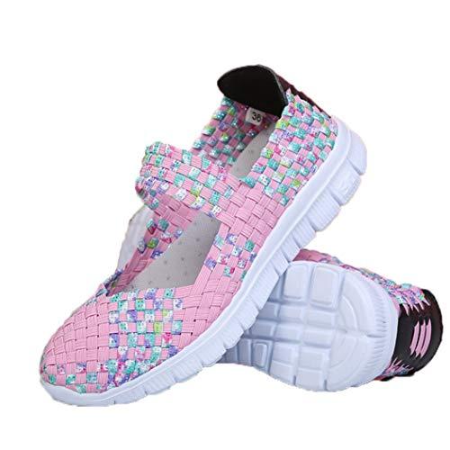 Zapatillas Planas para Mujer Tejido elástico de Tejido Mixto Banda elástica Low Top Primavera Verano Luz Transpirable Tamaño Grande 41 Zapatos Casuales para Mujer