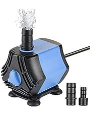 Zacro Aquariumpomp kleine 650 l/h met afneembare 2 sproeiers (13 mm/8 mm), vijverpomp, mini-waterpomp voor aquaria, vijver, fontein, tuin