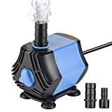 Zacro - Mini bomba de agua sumergible, bomba de agua para acuario de 10 W, 650 l/h, con dos boquillas (13/8 mm), para acuario, fuente, fontana