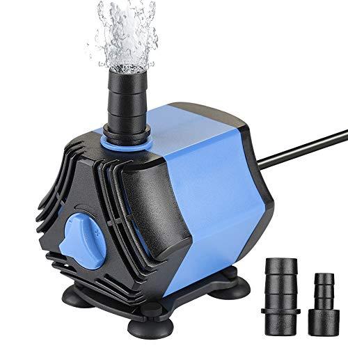 Zacro Aquariumpumpe Kleine 650L / H mit Abnehmbar 2 Düsen(13mm/8 mm), Teichpumpe Mini Wasserpumpe für Aquarien, Teich, Brunnen, Garten