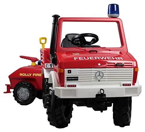 Rolly Toys 036268 Fire Unimog Feuerwehr (Tretauto 3-8 Jahre mit Anhänger, Spritze, Blinklicht, Schaltung, Bremse), Rot
