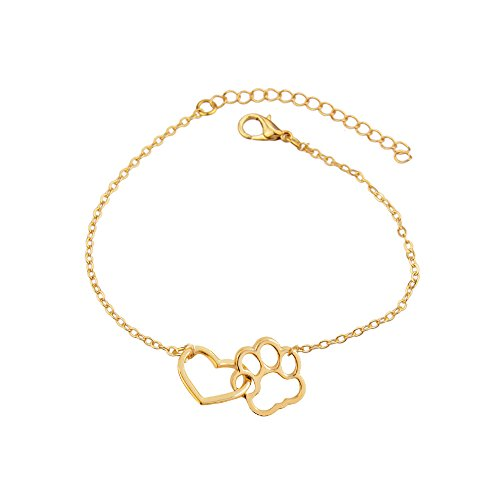 star and sea Elegant Heart Shape Dog Paw Adjustable Expendable Bracelet Hand Chain (Gold)