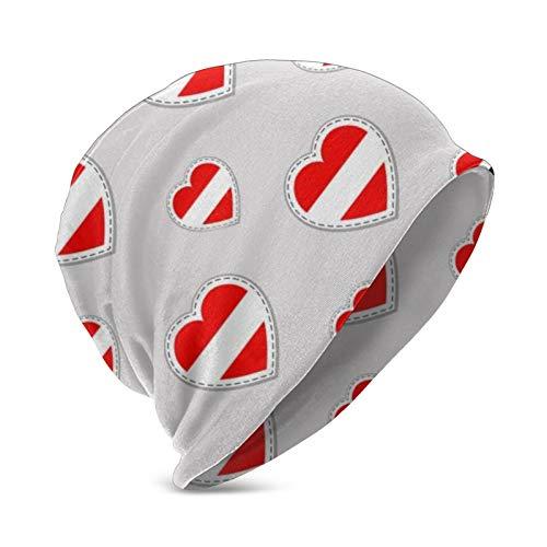 Pillow Socks Gorro de punto con la bandera de Austria con smbolo de amor para nios, resistente al viento, gorro de punto clido para exteriores
