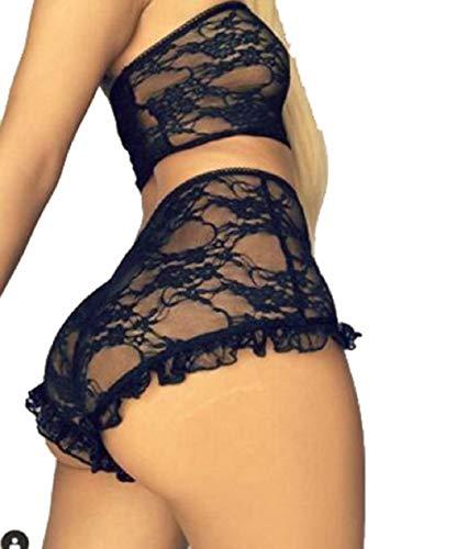 Tuopuda Dessous für Damen, sexy, hohe Taille, BH und Höschen aus Spitze,...