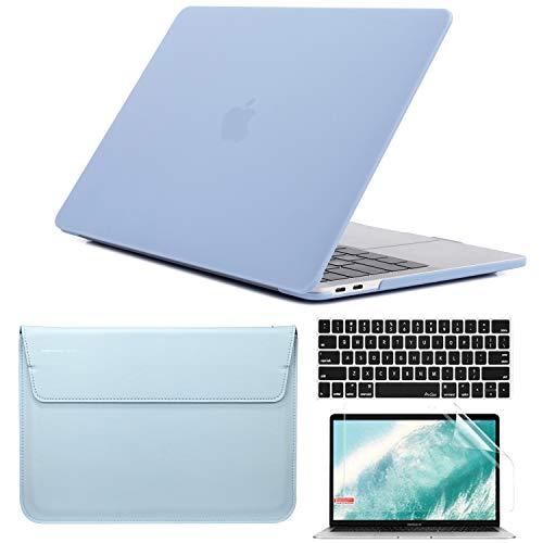 QYiD 4 in 1 Custodia per MacBook PRO 15 Pollici 2019 2018 2017 2016 A1990 / A1707, Custodia Rigida in Plastica con Sleeve Borsa, Tastiera Cover & Schermo Proteggi per MacBook PRO 15 Touch Bar, Blu