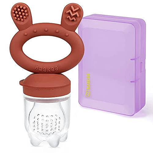 Haakaa Baby Food Feeder/Fruit Feeder Pacifier Silicone Baby Feeder Teether for Babies Infant Teething Toys for 3 Months+ BPA Free, with Pacifier Clip & Travel Case(1 Pack, Copper)