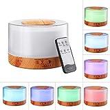 SGSD Humidificador De Aromaterapia Control Remoto Lámpara De Fragancia Colorida Humidificador Ultrasónico 700 Ml Protección del Medio Ambiente Máquina De Aromaterapia De Grano De Madera