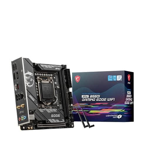 MSI MPG B560I GAMING EDGE WIFI Placa Base Gaming, Mini-ITX - Soporta Procesadores Intel Core 11a Generación, LGA 1200 - DDR4 Boost (5200MHz/OC), 1 x PCIe 4.0 x16, 2 x M.2 Gen4/3, 2.5G LAN, Wi-Fi 6E