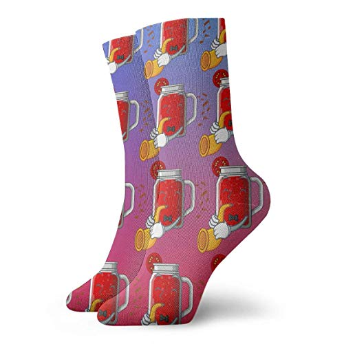 Grappige Crazy Crew Sock Lekkere Tomaat met Trompet Sap Op Cartoon Tafel Gedrukt Sport Atletische Winter Warm Sokken 30 cm Lang