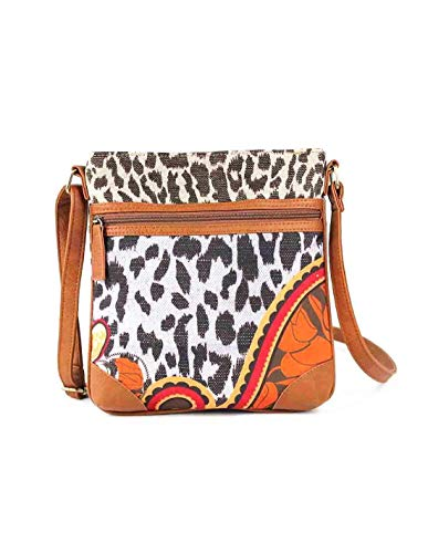 For Time Bolso Bandolera con Estampado Animal, Mujer Print, Marrón, 0