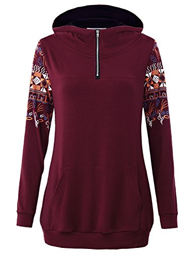 MOQIVGI Hoodies for Women, Girls Lightweight Sweater Soft Trendy Sweatshirt Zipper Color Block Loose Fit Casual Stylish Knitted Sporty Athletic Shirt Jumper Hoody Top Kangaroo Pocket Wine Large