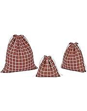 Abaría - 3 unidades bolsa de algodón con cuerdas – Pequeña saco bolsas - Bolsa inserto organizador para bebé ropa juguete pañales - Bolsa de regalo