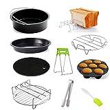 Set di accessori per friggitrice ad aria, 9 pezzi, 15/18/20 cm, teglia per pizza, griglie per arrosti e toast, ecc.